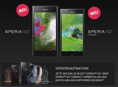 Bild zu Das neue Sony Xperia XZ1 (oder Compact) + Köpfhörer im o2 Free 15 (Allnet-Flat, SMS-Flat, 15GB LTE Datenvolumen, EU-Flat) ab 34,99€/Monat