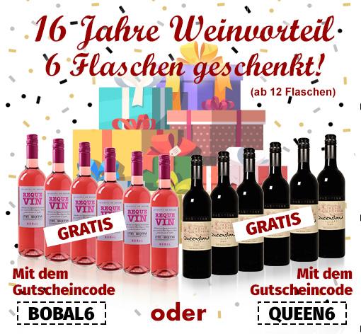 Bild zu Weinvorteil: 12er Pack kaufen und 6 Flaschen gratis erhalten