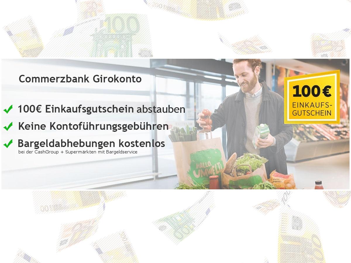 Bild zu [Super] Commerzbank: 100€ REWE Gutschein (auch Amazon etc. möglich) für das kostenlose und beitragsfreie Girokonto + auf Wunsch kostenlose Mastercard