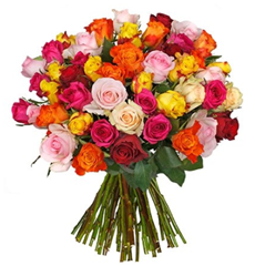Bild zu Blume Ideal: Blumenstrauß mit 42 bunten Rosen (50cm Stiellänge) für 23,94€