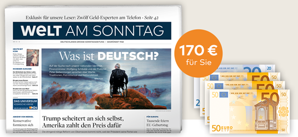 Bild zu Welt am Sonntag Jahresabo für 218,40€ lesen + 170€ Amazon-Gutschein für den Werber