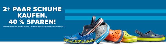 Bild zu [nur noch heute] Crocs: 2 Paar Schuhe kaufen und 40% Rabatt erhalten + 30% Extra-Rabatt ab 50€ + kostenloser Versand
