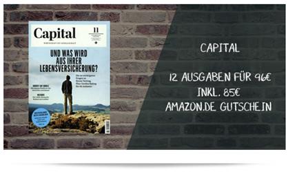 """Bild zu 12 Ausgaben """"Capital"""" für 96€ + 85€ Amazon.de Gutschein als Prämie"""