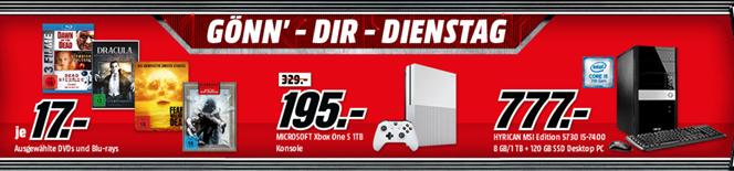 """Bild zu schon am Montag: """"Gönn dir Dienstag"""" bei MediaMarkt, so z.B. xBox One S 1TB für 195€"""