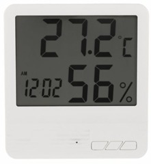 Indoor LCD Electronic Temperature Humidity Meter Clock WHITE  Tech Accessories   ZAFUL