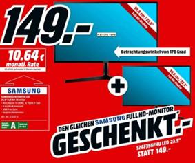 Bild zu [Knaller] 2 x den Samsung LS24F350FHUXEN 59,8 cm (23,5 Zoll) Monitor (HDMI, 1920 x 1080 Pixel) für 149€ (Vergleich einer = 129€)