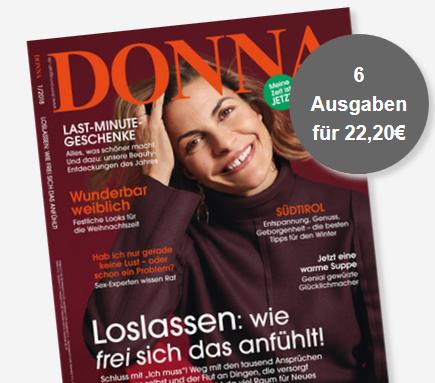 """Bild zu 6 Ausgaben der Zeitschrift """"DONNA"""" für 22,20€ + 20€ Verrechnungscheck als Prämie"""