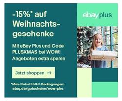 Bild zu [letzte Chance] eBay: 15% Rabatt auf alle eBay WOW Plus Artikel (nur für eBay Plus Mitglieder und bei Bezahlung per PayPal)