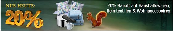 Bild zu Galeria Kaufhof: nur heute 20% Rabatt auf Haushaltswaren, Heimtextilien und Wohnaccessoires