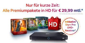 Bild zu [nur noch heute] Sky Komplett mit Entertainment, Bundesliga, Sport + Cinema und alles in HD inkl. Sky Go + Ultra HD Receiver für 29,99€ im Monat (anstatt 76,99€)