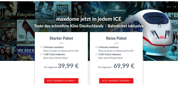Bild zu Maxdome + Bahn: 2 einfache Bahnfahrten (ICE/IC/EC) + 6 Monate Maxdome für zusammen 69,99€