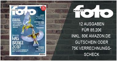"""Bild zu 12 Ausgaben """"Foto Magazin"""" für 85,20€ + 80€ Amazon.de Gutschein als Prämie (oder 75€ Verrechnungscheck)"""