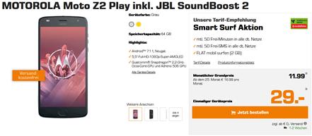 Bild zu MOTOROLA Moto Z2 Play inkl. JBL SoundBoost 2 inkl. Tarif für 356,75€ Gesamtkosten (Vergleich nur Hardware = 437,90€)