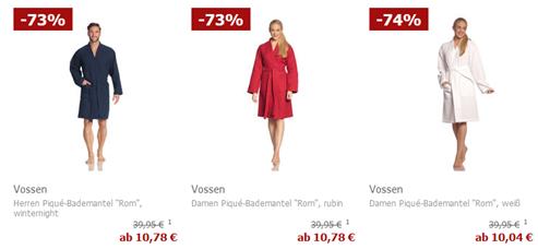 """Bild zu Vossen Damen- oder Herren Piqué-Bademantel """"Rom"""" ab 10,04€ (Vergleich ab 29,95€)"""