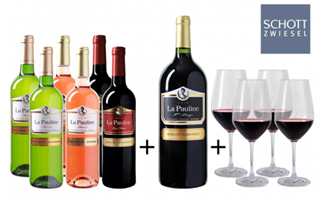 Bild zu Weinvorteil: Probierpaket La Pauline mit 6 Flaschen Wein + Magnum Flasche + 4 Schott Zwiesel Gläser für 49,99€