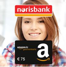 Bild zu [nur noch heute] norisbank Girokonto (komplett kostenlos + Kreditkarte) + 75€ Amazon.de-Gutschein*