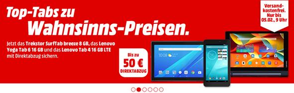 Bild zu MediaMarkt: bis zu 50€ Direktabzug auf Tablets z.B. Lenovo Tab 4 10 LTE für 149€ inkl. Versand (Vergleich: 198€)
