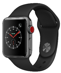 Apple Watch Series 3 LTE 38mm Aluminiumgehäuse Space Grau Sportarmband Schwarz    Cyberport