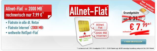 Bild zu [Top – letzte Chance] Allnet-Flat im Vodafone Netz + 1GB Datenflat für 6,99€/Monat oder mit 2GB Daten + 100€ Holidaycheck Gutschein für 7,99€/Monat
