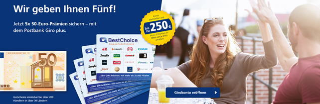 Bild zu Postbank Girokonto eröffnen und bis zu 250€ Prämie erhalten
