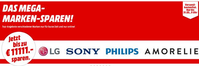 Bild zu MediaMarkt Mega Marken Sparen mit Angeboten von LG, Sony, Philips und Amorelie