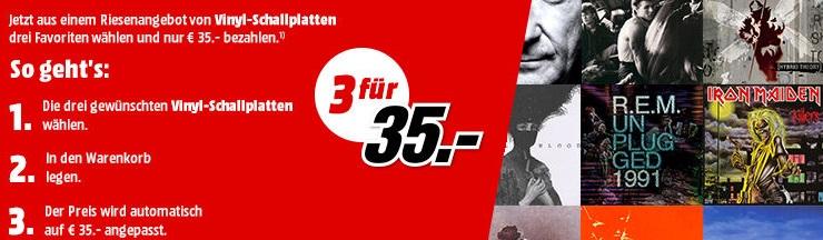 Bild zu MediaMarkt: 3 Vinyl-Schallplattem für 35€