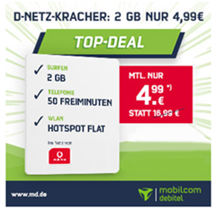 Bild zu Vodafone Smart Surf mit einer 2GB Datenflat + 50 Freiminuten + 50 SMS für 4,99€/Monat