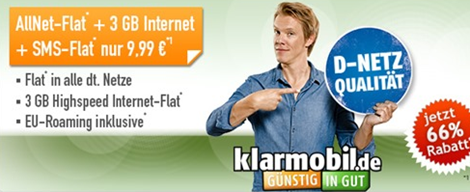 klarmobil vodafone allnet flat sms flat 3gb datenflat f r 9 99 monat. Black Bedroom Furniture Sets. Home Design Ideas