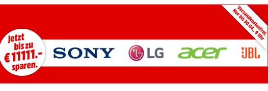 Bild zu MediaMarkt Mega Marken Sparen mit Angeboten von LG, Sony, Acer und JBL