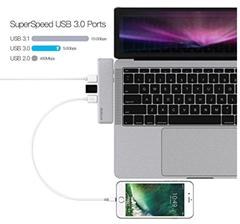 Bild zu dodocool USB C Hub, 7-in-1 Dual Typ C Hub Adapter für 2016/2017 MacBook Pro 13.3″ und 15.4″ für 26,99€