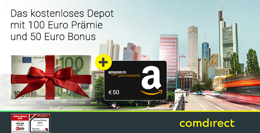 Bild zu [noch besser und nur noch heute] bis zu 100€ Prämie + 70€ Amazon.de Gutschein für kostenloses comdirect Depot – schufafrei