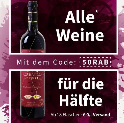 Bild zu Weinvorteil: 50% Rabatt auf alle nicht reduzierten Weine + versandkostenfreie Lieferung ab 18 Flaschen