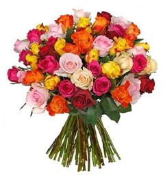 Bild zu Blume Ideal: Blumenstrauß mit 44 bunten Rosen für 22,98€