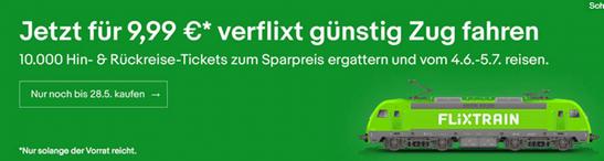 Bild zu [nur 10.000 Stück] FlixTrain – Gutschein für Hin- & Rückfahrt Deutschlandweit für nur 9,99€