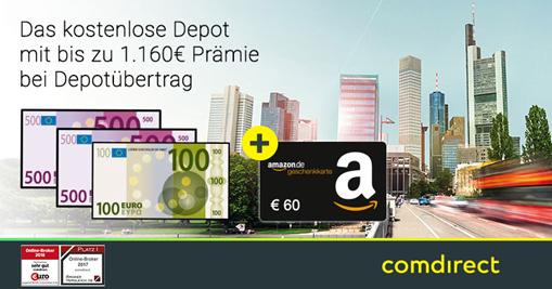 Bild zu 60€ Amazon.de*-Gutschein für kostenloses comdirect Depot + bis zu 1.100€ Bonus bei Depotübertrag (schufafrei)