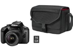 CANON EOS 4000D Kit Spiegelreflexkamera 18 Megapixel mit Objektiv 18-55 mm f 5 6, ( Tasche, 16 GB Spei[...]
