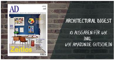 """Bild zu [nur 70x] 10 Ausgaben der Zeitschrift """"AD Architectural Digest"""" für 68€ + 65€ Amazon.de Gutschein"""