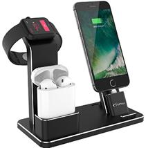 YFW Aluminium 4 in 1 Airpods Zubehör Apple Watch Ständer iPhone Docking Station für Apple AirPods Appl[...]