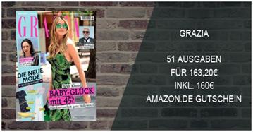 """Bild zu 51 Ausgaben der Zeitschrift """"Grazia"""" für 163,20€ + 160€ Amazon Gutschein"""