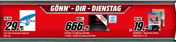 """Bild zu MediaMarkt """"Gönn dir Dienstag"""", so z.B. HP Omen 15-ce003ng, Gaming Notebook für 666€ (Vergleich: 869€)"""