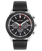 Citizen Watch Men's Solar Powered with Black Dial Analogue Display and Black Leather Strap CA4348-01E[...]