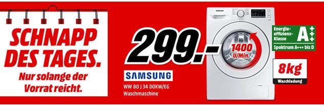 Bild zu SAMSUNG WW 80 J 34 D0KW/EG Waschmaschine (8 kg, 1400 U/Min., A+++) für 299€