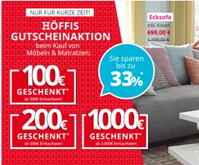 Bild zu Möbel Höffner: bis zu 33% Rabatt auf Möbel & Matratzen + gratis Versand ab 10€