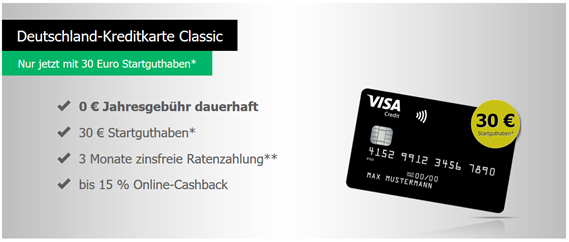 Bild zu [letzte Chance] Deutschland Kreditkarte: kostenlose schwarze Kreditkarte (Visa) mit bis zu 60€ Startguthaben