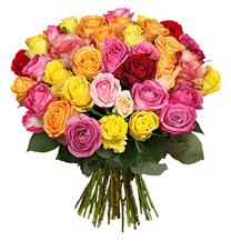 Bild zu Blume Ideal: Blumenstrauß mit 39 bunten Rosen für 22,98€