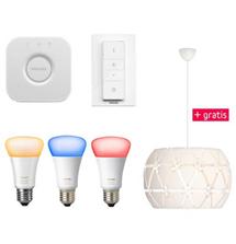 Bild zu Philips Hue White and Color Ambiance Starter Kit E27 (inkl. Bridge, 3 Lampen + Dimmschalter) plus gratis Philips myLiving Sandalwood Pendelleuchte für 149,95€