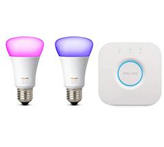 Bild zu Philips Hue White und Colour Ambiance Mini Starter Kit (Bridge + 2 Lampen), E27, 10 W für 81,50€ (Vergleich: 114€)