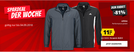Bild zu SportSpar Deal der Woche: adidas Performance Basic 3 Stripes Jacke für je 11,11€ zzgl. 3,95€ Versand
