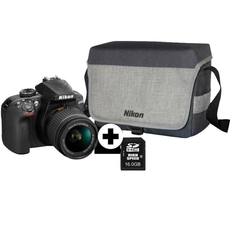 Bild zu Spiegelreflexkamera Nikon D3400 Kit mit Objektiv 18-55 mm f/5.6, Tasche und 16GB Speicherkarte für 333€ (Vergleich: 419€)