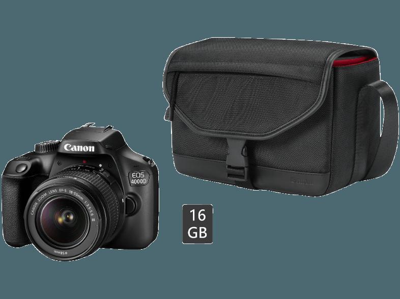 Bild zu Spiegelreflexkamera Canon EOS 4000D + 18-55 mm Objektiv + Kameratasche + 16 GB Speicherkarte für 227,99€ (Vergleich: 285,99€)